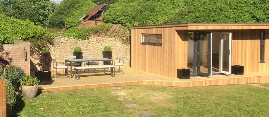 Extended Decking To Garden Office